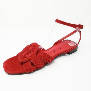 Lola Cruz Dolores Red Strappy Woven Suede Sandals